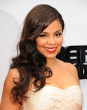 Retro beauty was the theme for Sanaa Lathan's BET Awards beauty with sideswept curls and a brick red lip color.