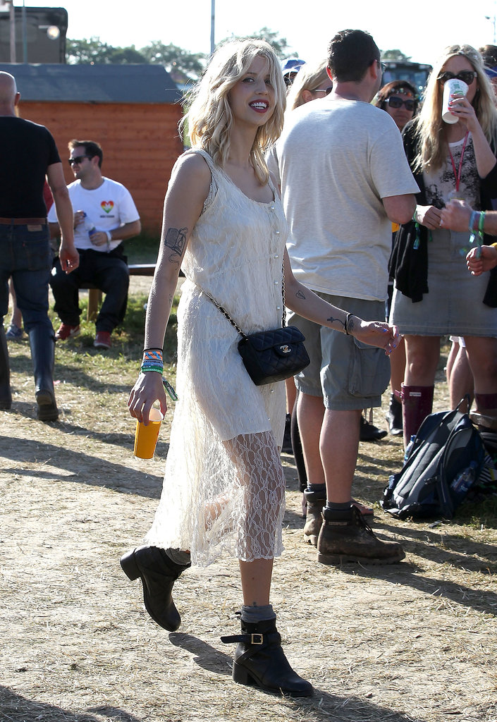 It looks like the little white dress isn't just a Summer trend stateside! Peaches Geldof picked a sheer lace version to hit the turf.