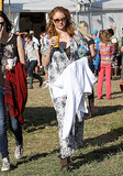 Model Lily Cole spent her day out in a comfortable black and white maxi dress.