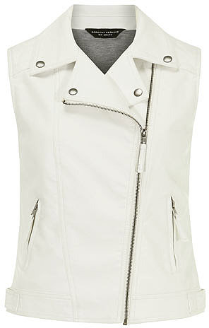 White leather look biker gilet