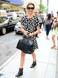 Miranda Kerr's floral cutout dress and studded boots had onlookers doing a double take in NYC.