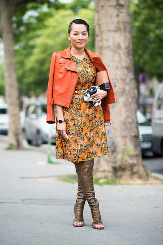 Thigh-high leather sandals were the coup de grace for this bold mix of print and pigment.