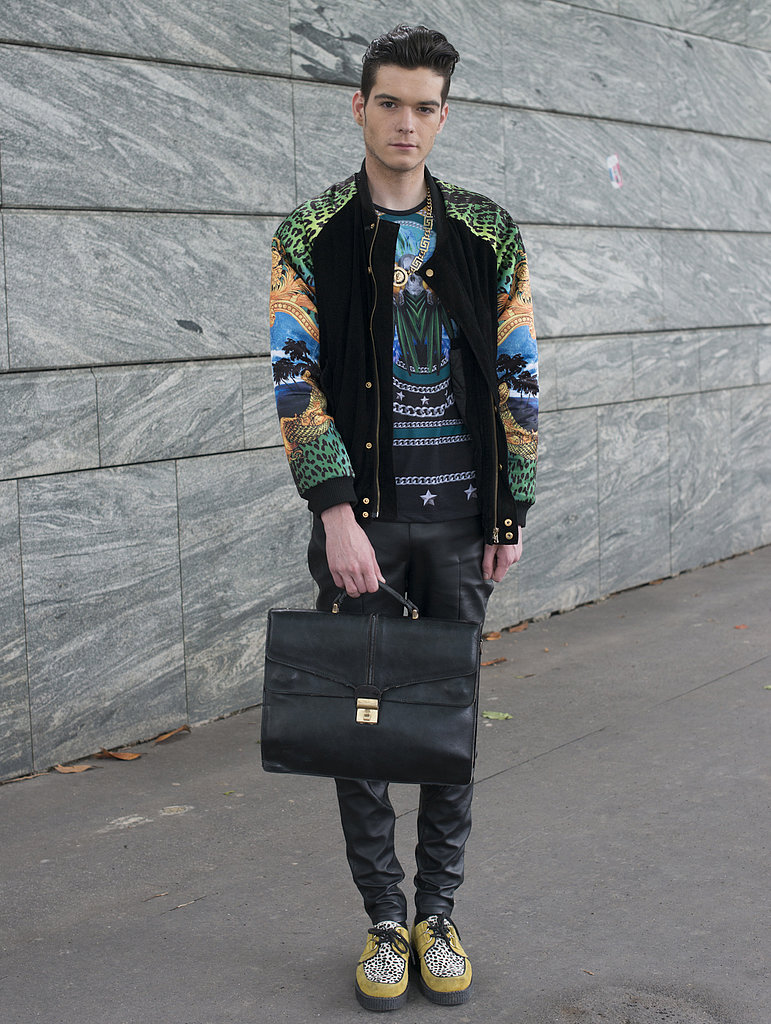 We're not sure which piece we're more obsessed with — this guy's statement bomber or tee.