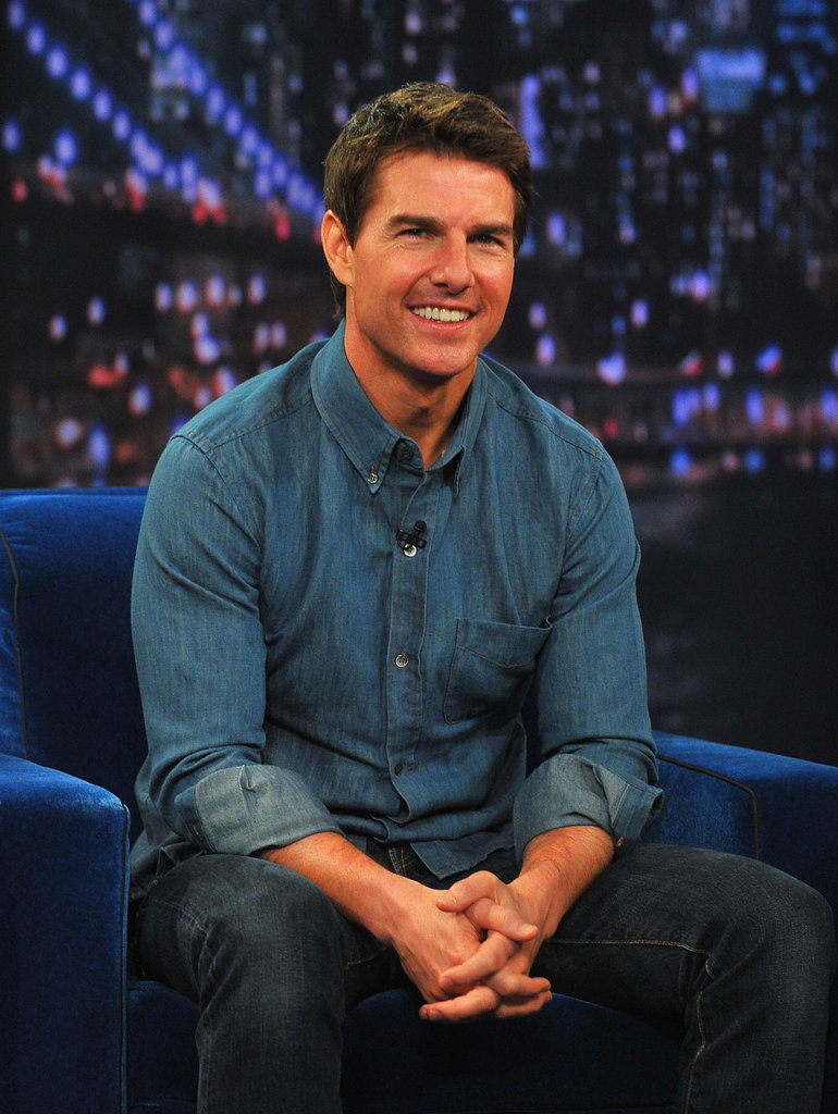 Tom Cruise looked perfectly tanned for a stop on Late Night With Jimmy Fallon in NYC in April 2013.