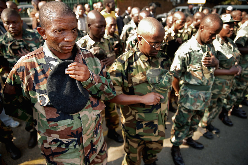 Members of the Umkhonto We Sizwe Military Veterans Association paid their respects to Mandela with a prayer outside the hospital.