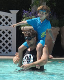 Russell Crowe played with his son Charles in the pool in LA on Friday