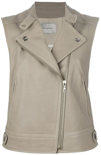Yves Salomon fitted leather gilet