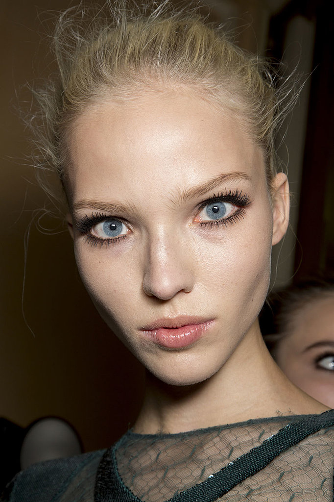 The look on the Versace Fall 2013 Haute Couture runway was based around full lashes and glowing skin.