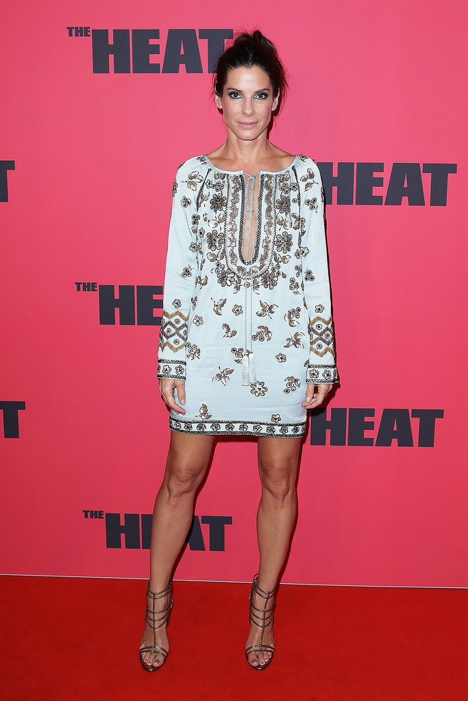 Sandra Bullock stepped out in a perfect-for-Summer embellished tunic dress and strappy heels at the premiere of Th