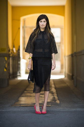 Black eyelet had a cool, Summer-ready effect on this look, while bright red pumps rounded it out with a fashion-conscious finish.  Source: Le 21ème | Adam Katz Sinding