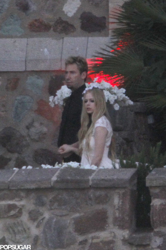 Avril Lavigne and Chad Kroeger dressed up for their wedding rehearsal.