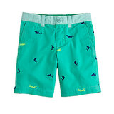 Look closely at J.Crew's embroidered Stanton Shorts ($50) and find the neon scuba divers swimming among the embroidered sharks!