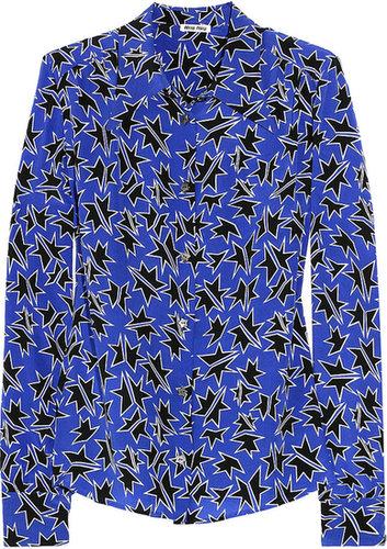 Miu Miu Printed silk crepe de chine blouse