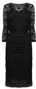 Dolce And Gabbana DOLCE AND GABBANA Lace Jersey Back Three Quarter Sleeve Dress