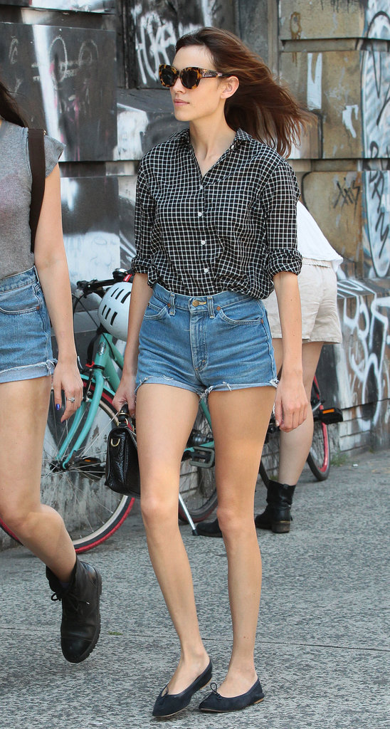 High-waisted denim cutoffs will give you a retro flair. For proof, just look to Alexa Chung's classic-cool creation.