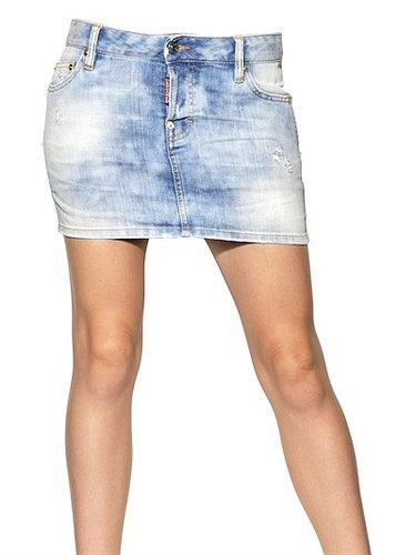 Dsquared - Washed Stretch Cotton Denim Skirt