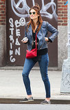 Lake Bell got cozy with a Madewell llama sweater during a windy day in NYC.