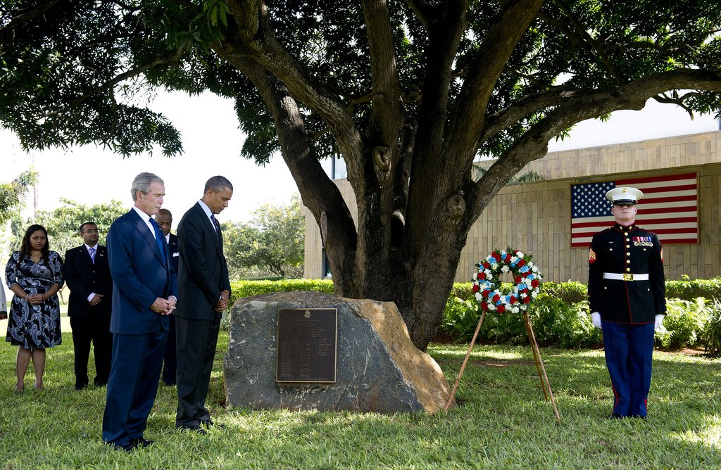 In July, President Obama and former President Bush attended a wreath-laying ceremony to honor the victims of the 1998 US Embassy bombing in Tanzania.
