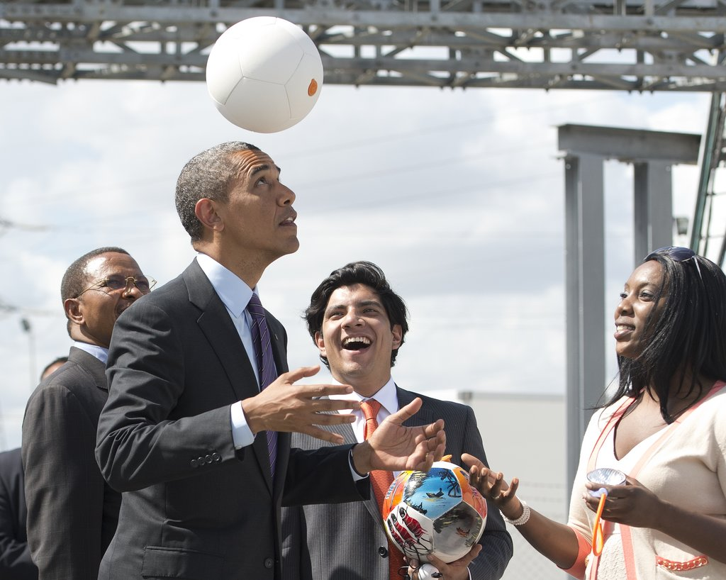 While at the Ubungo Plaza Symbion Power Plant in Tanzania in July, President Obama played with a special soccer ball that captures energy to charge LEDs.