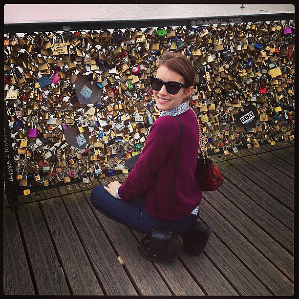 "Emma Roberts took in the ""Love Locks"" installation during her visit to Paris. Source: Instagram user emmaroberts6"