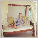 Nicky Hilton relaxed in her cabana while spending time on vacation in Greece. Source: Instagram user nickyhilton