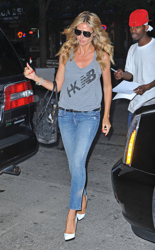 Heidi Klum gave her cropped denim a major jolt via crisp white pumps, and you should do the same.