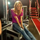 "Bar Refaeli shared ""a moment of excitement"" on the set. Source: Instagram user barrefaeli"