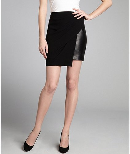 Alexander Wang black leather and asymmetrical draped overlay skirt