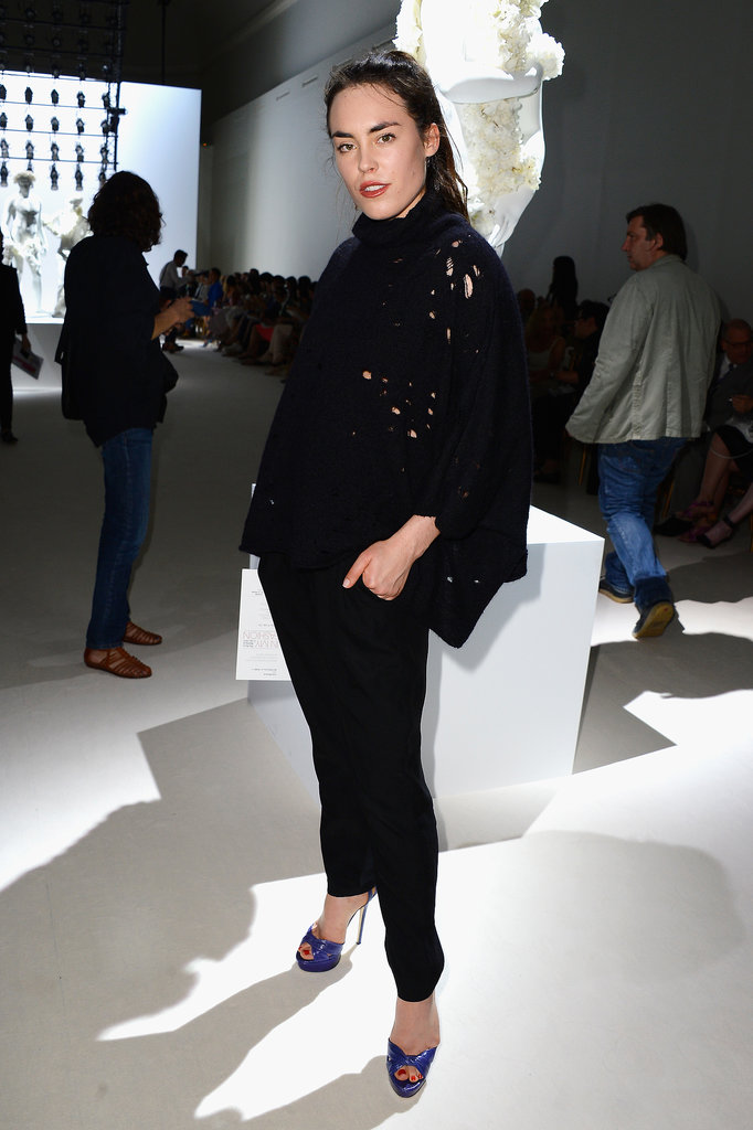 Tallulah Harlech struck a pose at the Giambattista Valli show on Monday.