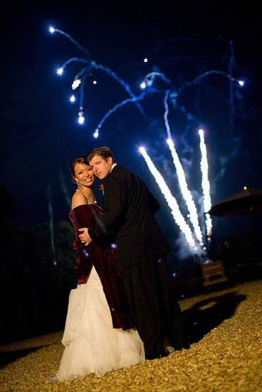 Fireworks gave a spark to this big day. Photo by Corbin Gurkin Photography via Style Me Pretty