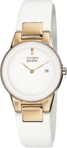 Citizen Watch, Women's Eco-Drive Axiom White Leather Strap 30mm GA1053-01A