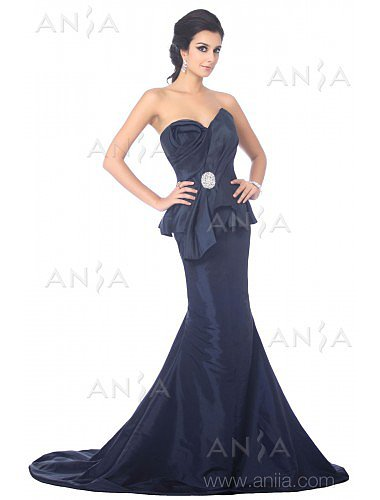 Trumpet Mermaid Dark Navy Sweetheart Taffeta Evening Dress F22427