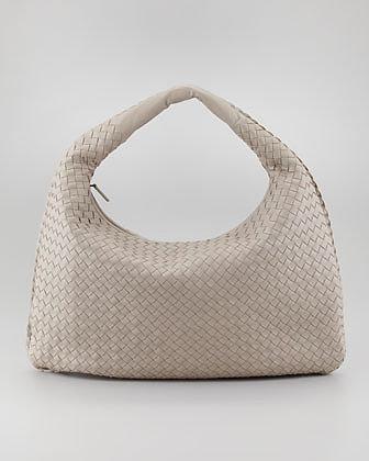 Bottega Veneta Intrecciato Large Hobo Bag, Gray