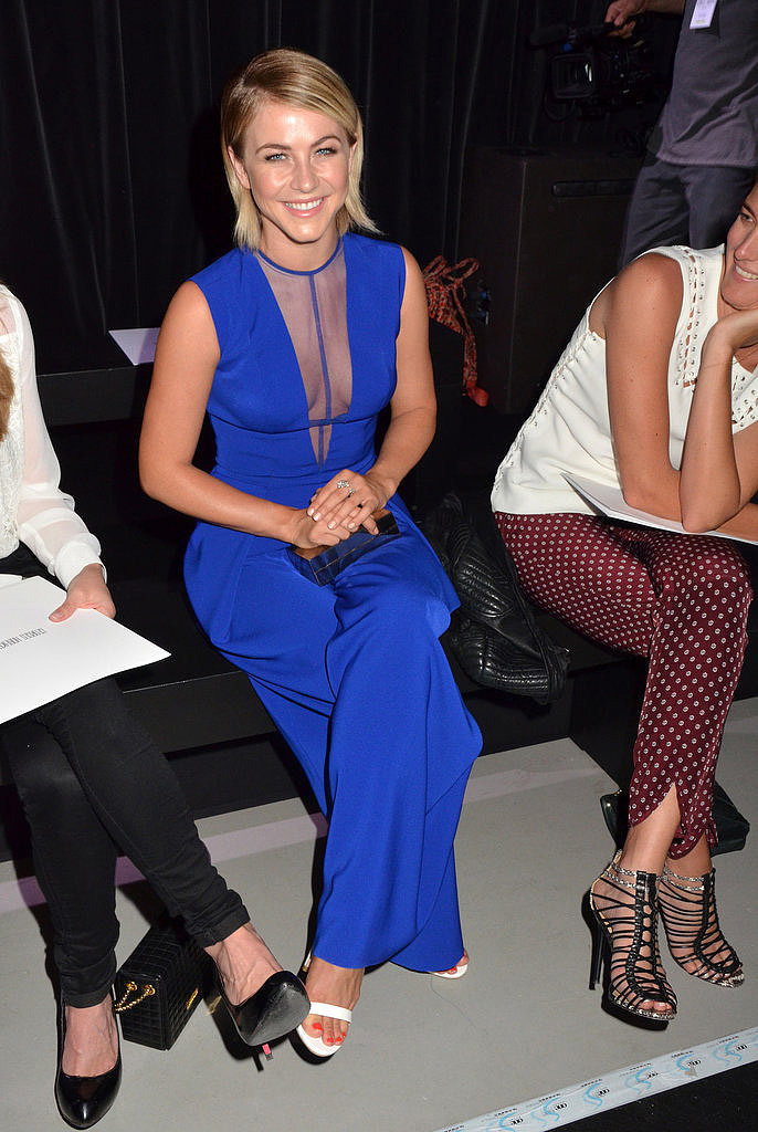 Julianne Hough wore bright blue sitting front row at the Georges Hobeika show on Monday.