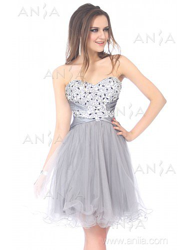 A Line Silver Sweetheart Tulle Cocktail Dress E22415