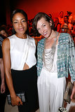 Milla Jovovich and Naomie Harris linked up for the Armani Privé show on Tuesday.