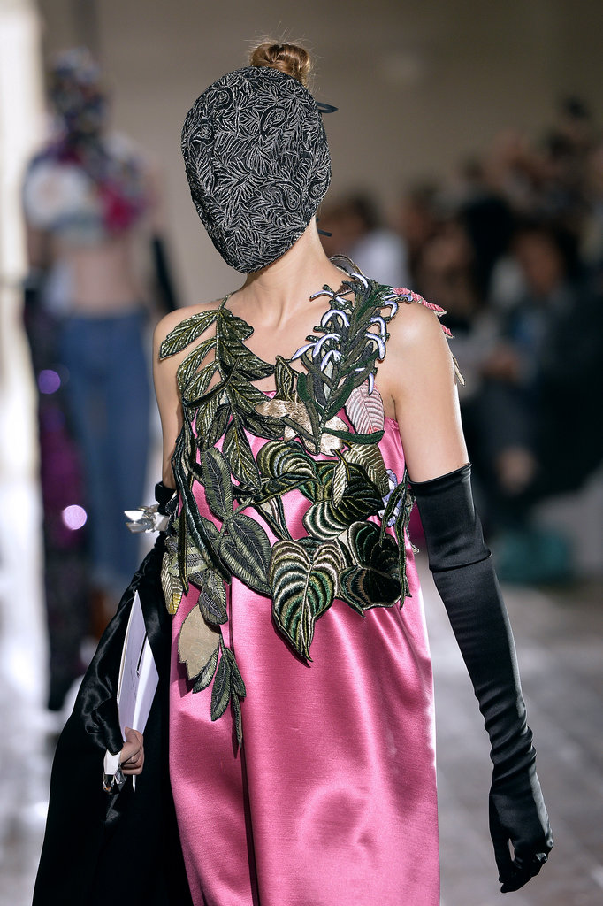 Heavy-duty embroidery made the leaves on the Maison Martin Margiela Haute Couture Fall 2013 runway really pop against the satiny dress.