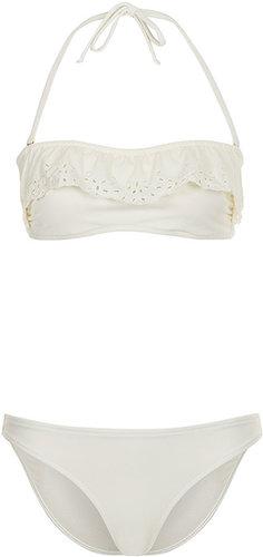 Cream Broderie Bandeau Bikini