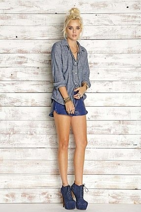 Rails Chase Speckled Button Down in Polka Dot Chambray