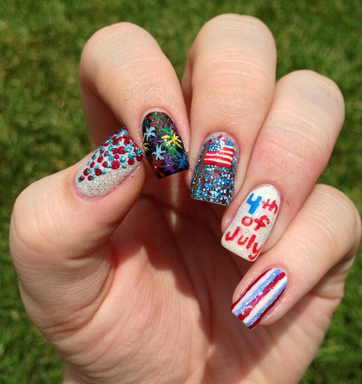 Fireworks, stripes, and sparkles . . . this manicure has all of its bases covered. Source: Twitter user VictoriaJosette