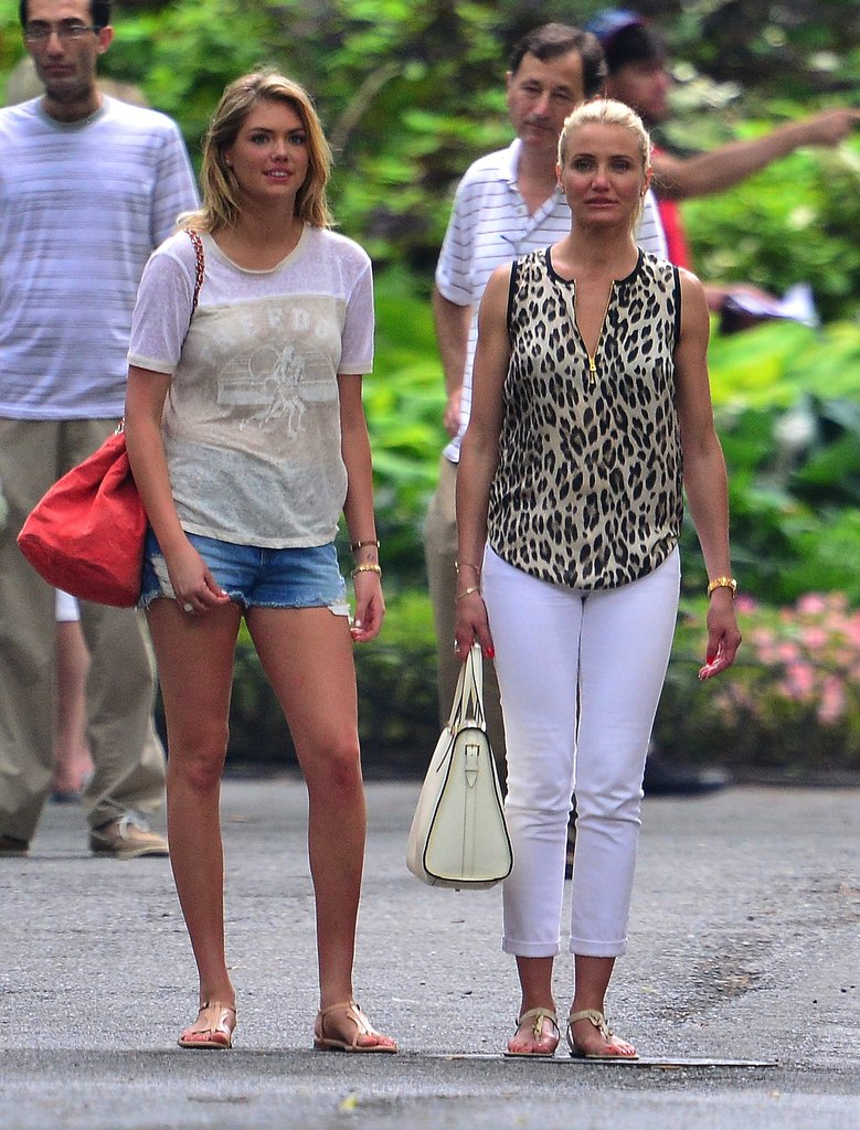 Kate Upton and Cameron Diaz worked two totally different looks on the set of The Other Woman. Kate was laid-back in denim cutoffs, while Cameron was polished in leopard and white denim. Both are great Summer styles and you probably already own similar pieces in your closet.