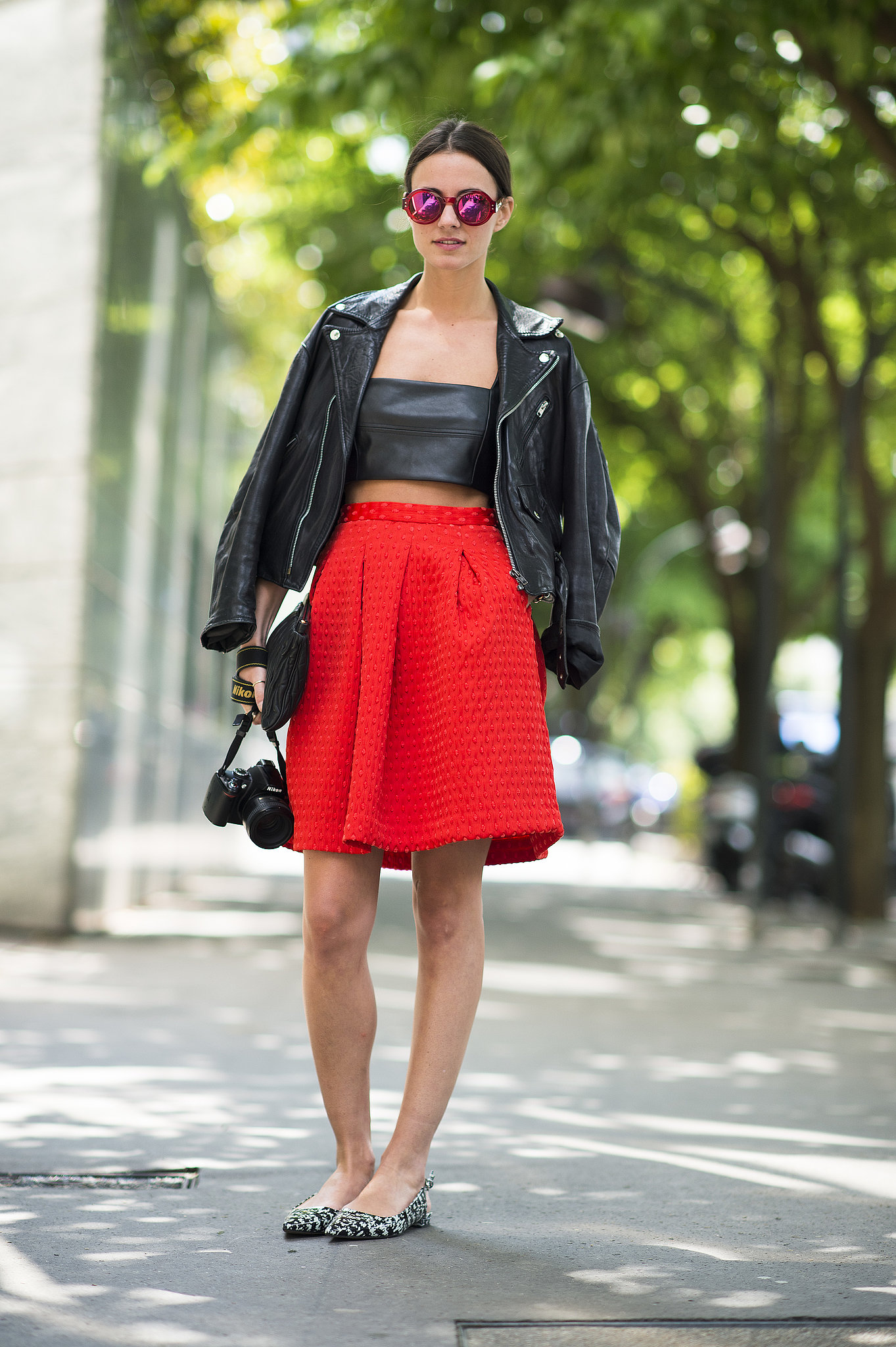 Channel your edgier Summer styling with a little leather to top off a full skirt and flats. Source: Le 21ème | Adam Katz Sinding