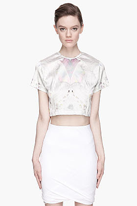 KTZ Grey Opal and Lace Printed crop top