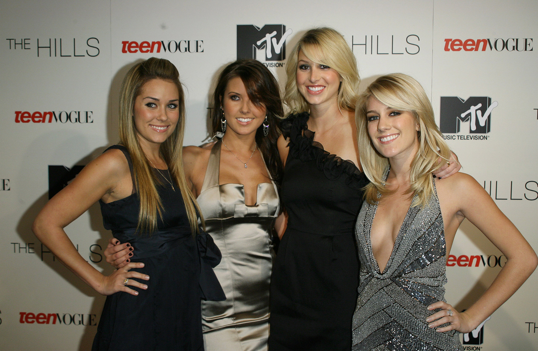 Lauren Conrad, Audrina Patridge, Whitney Port, and Heidi Montag celebrated the second season of The Hills in LA in January 2007.