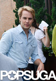 Taylor Kitsch continued his work on The Normal Heart in NYC on Wednesday.