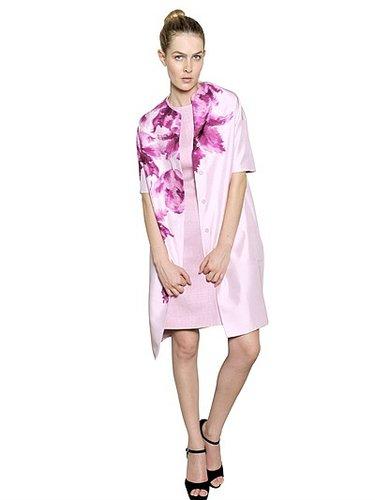Flower Print Silk Shantung Coat