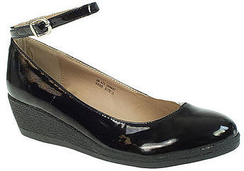 Barratts Kids Junior Girls Black Patent Low Wedge Casual Shoes