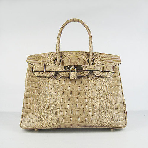 Hermes Birkin Bag 30 Crocodile Head Skin Gold Hardware (Tabac Ca-versandhermes.com
