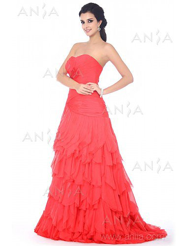 A Line Red Sweetheart Chiffon Prom Dress F12052