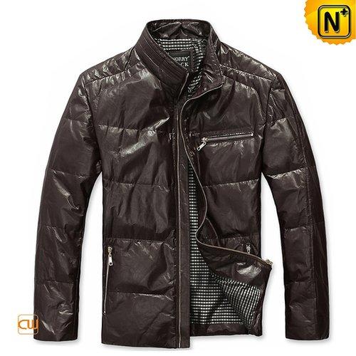 Warm Mens Leather Down Jacket CW831129 - cwmalls.com